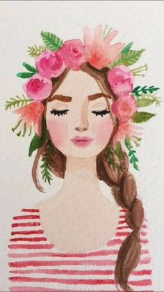 Flower crown girl watercolor painting · Pink stripes flowers · Character Portrait · Inspiration for Illustration + Art + Graphic Design Projects Art And Illustration, Art Illustrations, Fashion Illustrations, Watercolour Illustration, Watercolor Girl, Watercolor Paintings, Watercolor Images, Watercolor Design, Watercolor Flowers