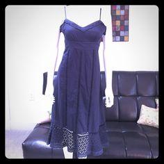 Navy Blue Dress. 100% cotton & lace, Navy Blue Dress To The Max Dresses Midi