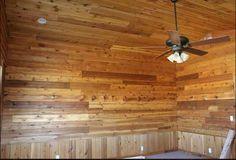 Our channel rustic interior. Cedar Siding, Board And Batten, Side Wall, Blue Wood, Rustic Interiors, Aspen, Ceiling Fan, Channel, Projects