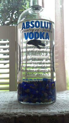 Absolut Vodka / Fish Bowl / Betta Bottle Habitat/ Sea Glass/ Aquatic Bamboo/ Mondo Grass via Etsy