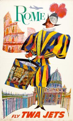 Rome travel poster by David Klein. 50s-60s