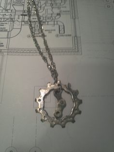 Bicycle Cog And Chain Necklace- Reclaimed Bicycle Parts #Jewelry