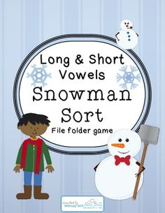 Long and Short Vowels Snowman Sort makes practicing reading long and short vowel words fun for winter time! Which child made each of the 15 snowm. File Folder Activities, File Folder Games, Phonics Activities, Reading Activities, File Folders, Winter Activities, School Themes, School Ideas, English Phonics