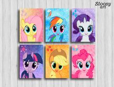 my little pony poster set of 6: Fluttershy Rainbow by Stoosyart