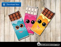 Printable Shopkins themed Candy Bar Labels. The cutest Shopkins birthday candy bar wrappers in pink, blue and orange. Each wrapper is designed to fit regular sized Hershey's or Nestle Crunch 1.55oz candy bar. #cupcakemakover