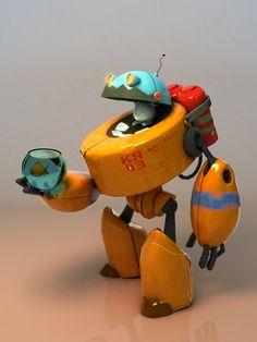 Concept by Alexandr Pushai. Cyberpunk Character, Cyberpunk Art, 3d Character, Character Concept, Character Design, Robot Concept Art, Environment Concept Art, Robot Cute, Steampunk Robots