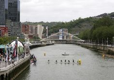 SUP at Bilbao down town river, international competition