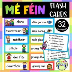 Mé Féin Flashcards with pictures - Gaeilge - Myself Get Email, Irish Language, Comprehension, A4, Classroom, Author, Bright, Printed, School