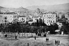 Syntagma Square, Athens 1865 Greece Pictures, Old Pictures, Old Photos, Vintage Photos, Greece History, Old Greek, Good Old Times, History Of Photography, Athens Greece