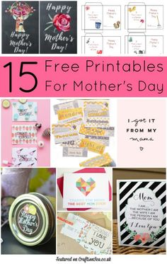 I adore these free Mother's Day printables! There's stuff for kids to fill out, coupons, cards and loads of pretty things to download.