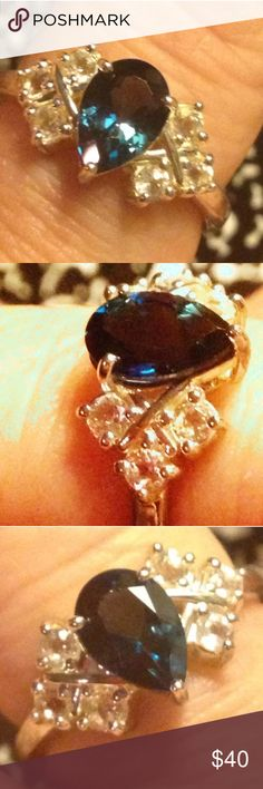 """New! GENUINE London Blue Topaz +Tooaz .925 Ring -8 Brand New! Size 8 . Platinum /.925 Sterling Silver ( nickel free) Fancy Faceted Pear LONDON BLUE TOPAZ + WHITE TOPAZ. Beautiful! 🎁🎁🎁🎁.  Comes with a free Brand New """"Thank You"""" Gift.. 🎁🎁🎁🎁🎁. Posts often, ships quickly! Please check my other listings, many are exotic, genuine mined gemstone jewelry. 🎀🎉🎀 makeup, bundles , and deep discounts .  🎀🎀🎀REDUCED🎀🎀🎀 Jewelry Rings"""
