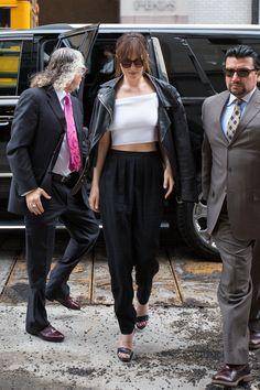 Dakota Johnson Masters This Off-the-Shoulder Street Style Trick