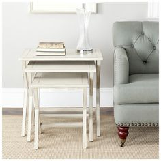 Safavieh Sete Antiqued White BIrch Nesting Tables (Set of - Overstock Shopping - Great Deals on Safavieh Coffee, Sofa & End Tables Sofa End Tables, End Tables With Storage, Tray Tables, Coffee Tables, Black Furniture, Table Furniture, Furniture Projects, Furniture Plans, Wood Nesting Tables