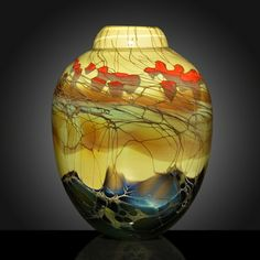 Forest Series Cased Vase Round.  Artist:  Steven Main.