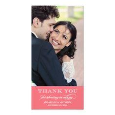 Classy Wedding Thank You Photo Card #wedding #thankyoucard