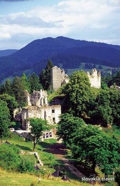 The Sklabiňa Castle - Slovakia. --- The Castle of Sklabiňa towers on the edge of the basin Turčianska kotlina and the mountains Veľká Fatra. It was first mentioned in After the Sklabiňa Castle became the seat of the county administration of Turiec. Castle Ruins, Medieval Castle, Nature Pictures, Cool Pictures, Central And Eastern Europe, Heart Of Europe, Big Country, Bratislava, Travel Abroad