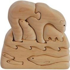 Polar bear puzzle - photo only; no details Puzzle Art, Puzzle Toys, Baby Toys, Kids Toys, Wood Projects, Woodworking Projects, 3d Cnc, Scroll Saw Patterns, Wooden Art