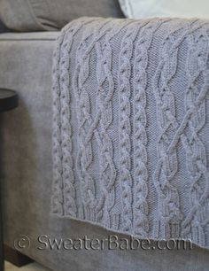 PDF Knitting Pattern for Threaded Cable Throw from SweaterBabe.com