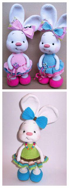 Crochet Jolie Lapin Amigurumi en robe Patron Gratuit