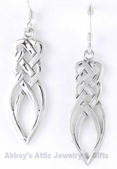 Sterling Silver Four Strand Woven Irish Celtic Knot Earrings