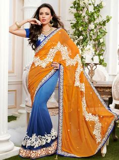 Shop this Product from Here..   http://www.silkmuseumsurat.in/sarees/dashing-half-n-half-saree Item #: 3187 Color	 : Blue Fabric	 : Faux Georgette Occasion	 : Party, Reception Style	 : Half n Half Saree Work	 : Embroidered, Patch Border