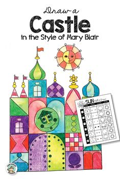 Castle Design in the Style of Mary Blair Create a fantasy castle drawing in the style of Mary Blair. Mary Blair is famous for designing the castle in Disney's It's a Small World. Art Lessons For Kids, Art Activities For Kids, Art For Kids, Mary Blair, Teaching Drawing, Teaching Art, Drawing Games For Kids, Art Classroom Management, Castle Drawing