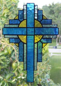Stained Glass Cross Suncatcher Stained Glass Art by GlassPelican