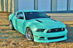 Mustang. I absolutely love this color. I wouldn't have ever thought it would be good for a car but works