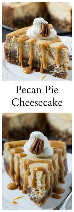 Pecan Pie Cheesecake _ Two magnificent desserts in one! A truly decadent dessert with a layer of pecan pie in a vanilla wafer crust, topped by a creamy cheesecake Just Desserts, No Bake Desserts, Delicious Desserts, Dessert Recipes, Yummy Food, Pecan Pie Cheesecake, Cheesecake Recipes, Pecan Pie Cupcakes, Pecan Pie Cake