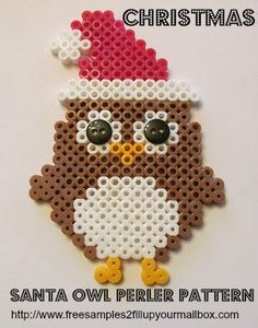 Christmas Perler Beads Patterns Santa Owl designed by Melty Bead Patterns, Pearler Bead Patterns, Perler Patterns, Beading Patterns, Owl Perler, Christmas Perler Beads, Hama Beads Design, Peler Beads, Iron Beads