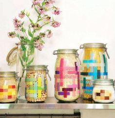 washi tape...frugalistas, this is a quick way to give your homemade products some flair without spending much!