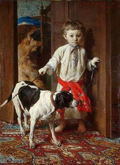 Pruszkowski, Witold (1846-1896) - 1881 Artist's Son with a Dog