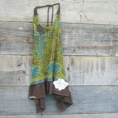 Funky Floral Eco Army Green and BrownTattered Halter