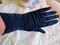 Vintage gloves, mid length gloves, navy gloves, evening gloves, vintage wedding gloves, rockabilly gloves, 1950s gloves, prom gloves, by thevintagemagpie01 on Etsy Vintage Gloves, Wedding Gloves, Navy Fabric, Mid Length, Etsy Store, 1950s, Magpie, Rockabilly