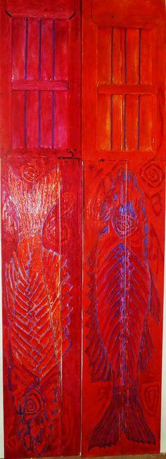 puertas Viejas. Tania Camara. piece of art old wood doors painted by the artist Tania Camara