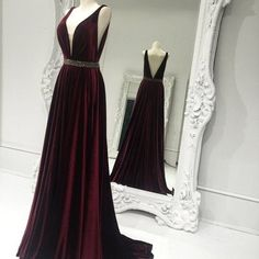 Elegant a-line long dark red long prom dress evening dress