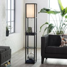 Black floor lamp - Adesso Parker 3133 Shelf Lamp with Drawer Black – Black floor lamp Tall Living Room Lamps, Tall Lamps, Bedroom Lamps, Living Room Modern, Small Living, Bedroom Office, Living Rooms, Diy Floor Lamp, Floor Lamp With Shelves