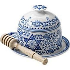 Spode Judaica Honey Pot w/Drizzler 1496361Jewish New Year, Sabbath, Holidays  #Spode