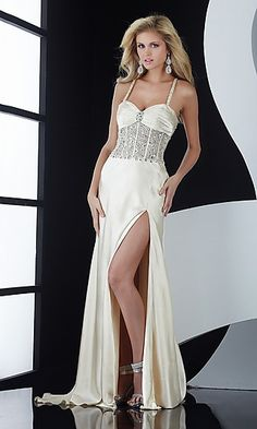 B JASZ elegant evening gown in pristine white with beaded detail <3