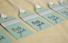 """Handmade """"thank you"""" tags for bridesmaids, baby showers, or anything else! Shop from BeanBlossomDesigns"""
