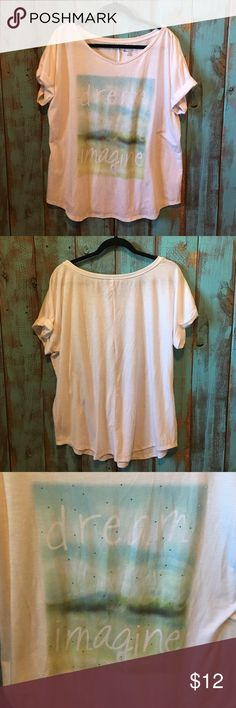Lane Bryant tee size 14/16 Excellent condition. Super cute bling embellishments on the front! Hardly worn.  Always washed in cold and hung dried. No rips, stains, tears or fading. No trades! Lane Bryant Tops Tees - Short Sleeve