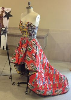 That's so creative how they made a dress out of candy wrappers.