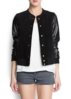 Mango Women's Leather Sleeved Bomber Jacket, Black, Xs