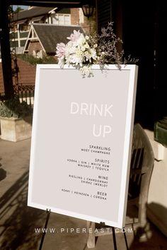 modern wedding Modern Light Blush Wedding Drinks Bar Sign by Piper East Design Drink Bar, Wedding Signage, Wedding Seating, Wedding Fonts, Dream Wedding, Wedding Day, Wedding White, Wedding Drink Signs, Wedding Bar Signs