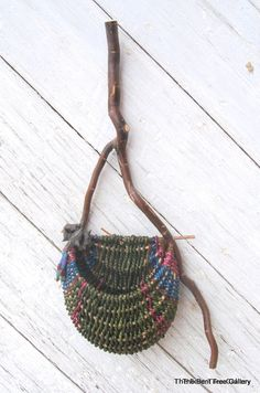 "Wall Basket ""Forest Dipper"" Deep Green with Pod and Bead Embellishments OOAK. $95,00, via Etsy."