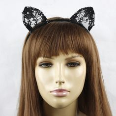 Black Floral Lace Cat Costume Ears by CassisViolette on Etsy, $8.95