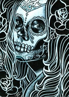 Day of the Dead monochrome sugar skull girl by NeverDieArt on Etsy, $5.00
