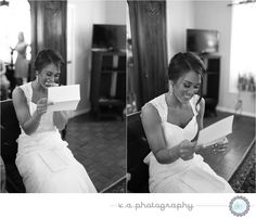bride reading letter from groom   wedding photography