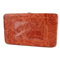 WMU Orange Floral Photo Holder Flat Frame Wallet
