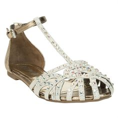 REPORT Felecia Strappy Rhinestone Flat #VonMaur #Shoes #Sandals